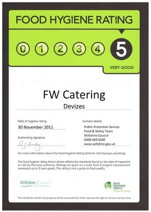 FW Catering rated 5 stars for food hygiene