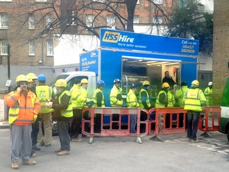 HSS Hire promotional catering van with construction workers